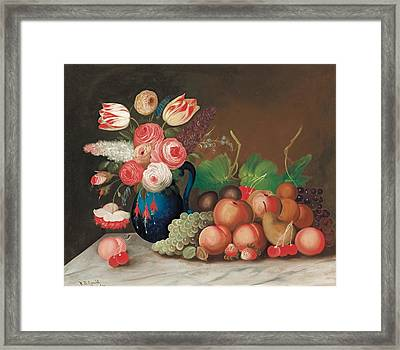 Still Life With Fruit And Flowers Framed Print