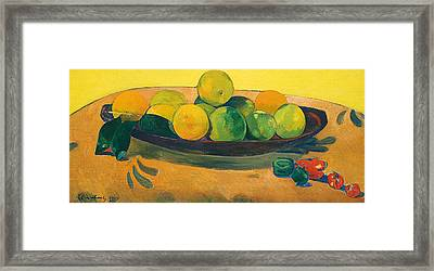 Still Life With Fruit And Peppers Framed Print