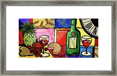 Still Life With Fruit And Wine #300 Framed Print by Everett Spruill