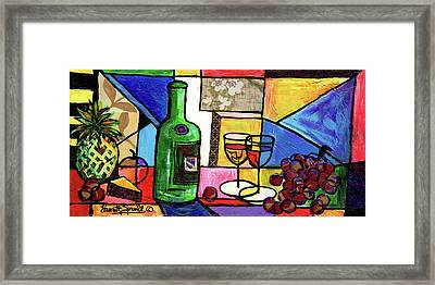 Still Life With Fruit And Wine #301 Framed Print by Everett Spruill