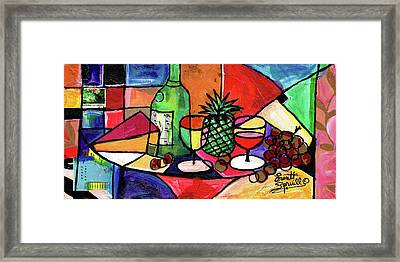 Still Life With Fruit And Wine #303 Framed Print