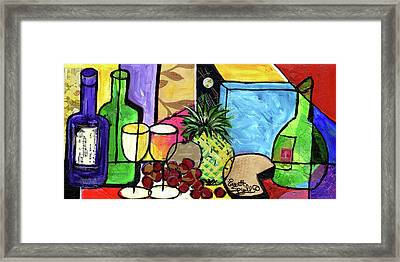Still Life With Fruit And Wine #305 Framed Print by Everett Spruill