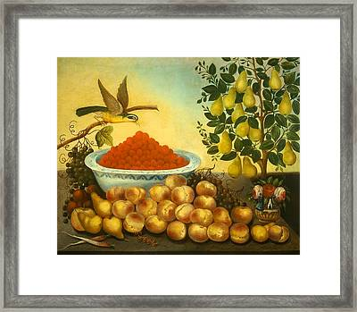 Still Life With Fruit Bird And Dwarf Pear Tree Framed Print by Mountain Dreams