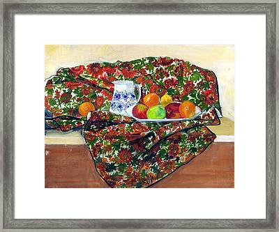 Still Life With Fruit Framed Print by Ethel Vrana