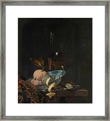 Still Life With Fruit, Glassware, And A Wanli Bowl Framed Print