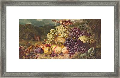Still Life With Fruit In A Landscape Framed Print by George Lance