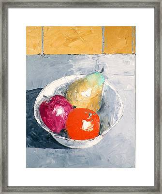 Still Life With Fruit In Bowl Framed Print
