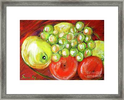 Still Life With Fruit. Painting Framed Print
