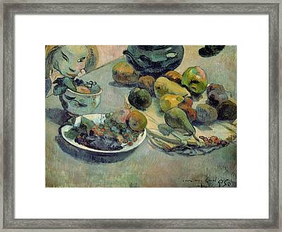 Still Life With Fruit Framed Print by Paul Gauguin