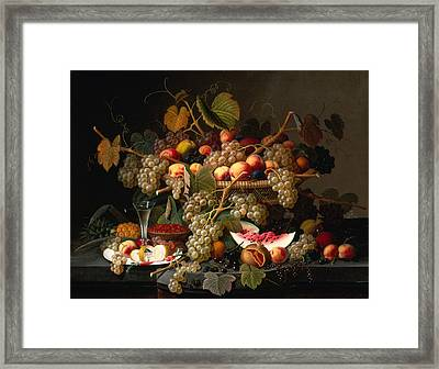 Still Life With Fruit Framed Print by Severin Roesen