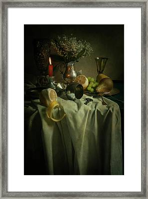 Still Life With Fruits And Flowers Framed Print by Jaroslaw Blaminsky