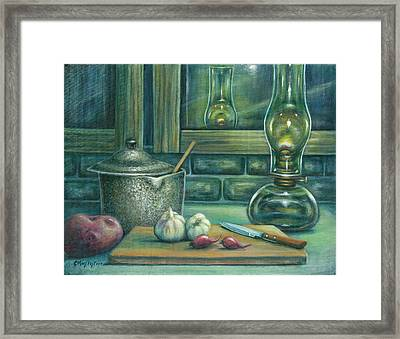 Still Life With Garlic Framed Print by Colleen  Maas-Pastore