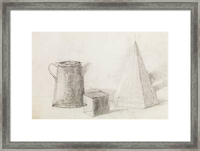 Still Life With Geometrical Figures And Metal Jug Framed Print by Dan Comaniciu