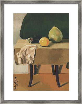 Still-life With Grapefruit Framed Print by Raimonda Jatkeviciute-Kasparaviciene