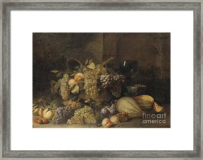 Still Life With Grapes Basket Framed Print by Celestial Images