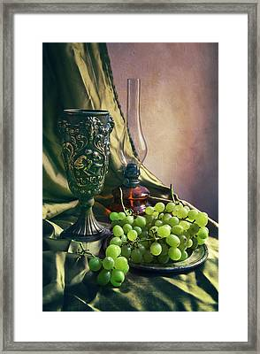 Framed Print featuring the photograph Still Life With Green Grapes by Jaroslaw Blaminsky