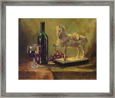 Still Life With Horse Framed Print by Laura Lee Zanghetti