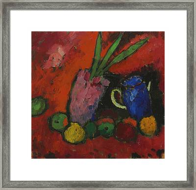 Still Life With Hyacinth, Blue Pitcher And Apples Framed Print
