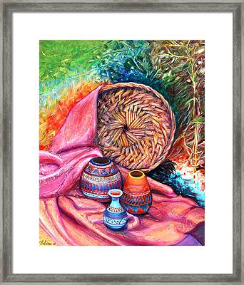 Still Life With Indian Pottery  Framed Print