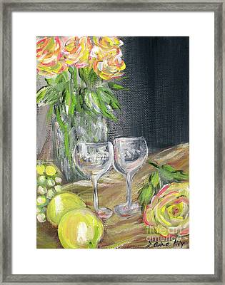 Still Life With Lemons, Roses  And Grapes. Painting Framed Print