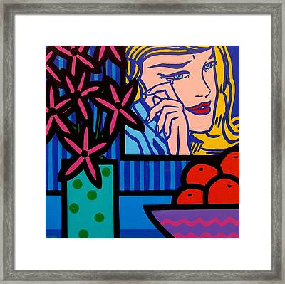 Still Life With Lichtensteins Crying Girl Framed Print by John  Nolan
