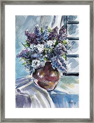 Still Life With Lilac Framed Print by Kovacs Anna Brigitta