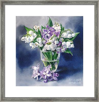 Still Life With Lilacs And Lilies Of The Valley Framed Print by Sergey Lukashin