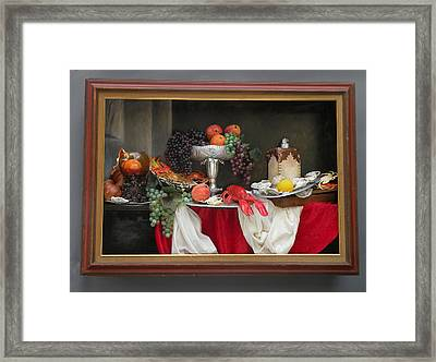 Still Life With Lobsters Framed Print by Sara Schindel