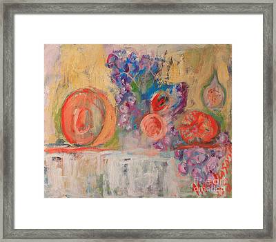 Still Life With Melon And Fig Framed Print by Michael Henderson