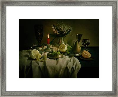 Still Life With Metal Pots And Fruits Framed Print