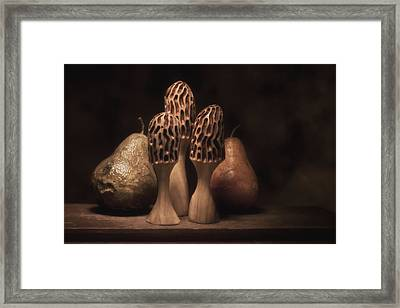 Still Life With Mushrooms And Pears I Framed Print by Tom Mc Nemar