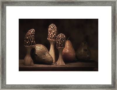 Still Life With Mushrooms And Pears II Framed Print by Tom Mc Nemar