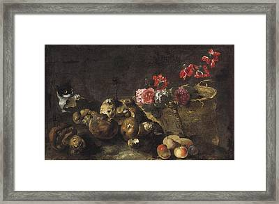 Still Life With Mushrooms, Fruit, A Basket Of Flowers And A Cat Framed Print