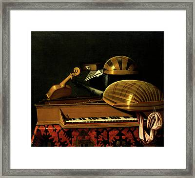Still Life With Musical Instruments And Books Framed Print