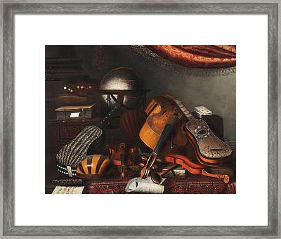 Still-life With Musical Instruments, Books And Playing Cards Framed Print by Bartolomeo Bettera