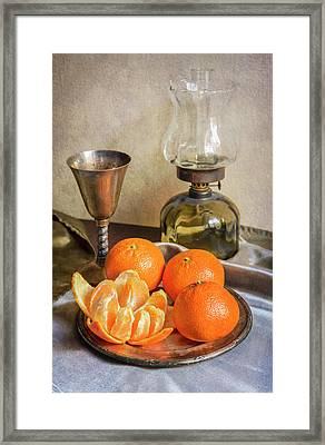 Framed Print featuring the photograph Still Life With Oil Lamp And Fresh Tangerines by Jaroslaw Blaminsky