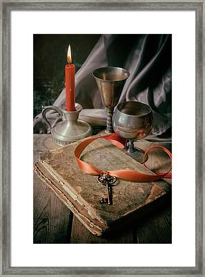 Framed Print featuring the photograph Still Life With Old Book And Metal Dishes by Jaroslaw Blaminsky
