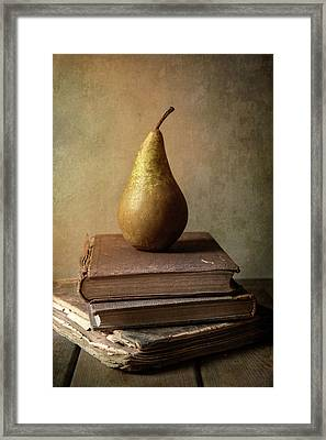 Framed Print featuring the photograph Still Life With Old Books And Fresh Pear by Jaroslaw Blaminsky