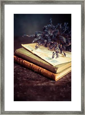 Still Life With Old Books And Lavenda Flowers Framed Print