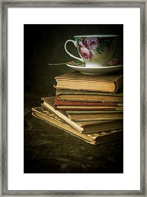 Still Life With Old Books And The Teacup Framed Print by Jaroslaw Blaminsky