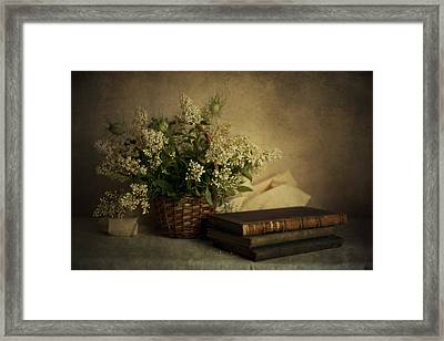 Still Life With Old Books And White Flowers In The Basket Framed Print by Jaroslaw Blaminsky