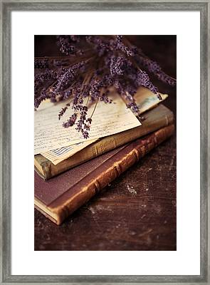 Still Life With Old Letters And Books Framed Print
