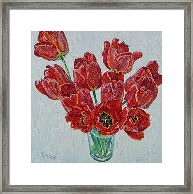 Still Life With Open Red Tulips Framed Print by Vitali Komarov