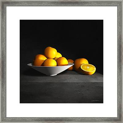 Still Life With Oranges Framed Print by Cynthia Decker