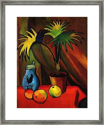 Still Life With Palm Framed Print by Pg Reproductions