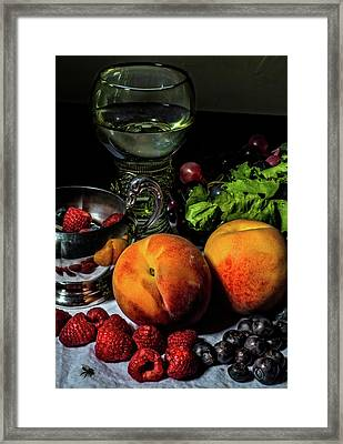Still Life With Peaches And Roemer Framed Print