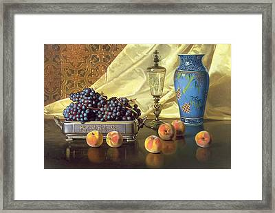 Still Life With Peaches Framed Print by Edward Chalmers Leavitt