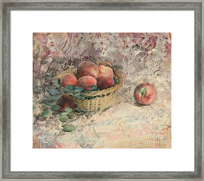 Still Life With Peaches Framed Print by Celestial Images