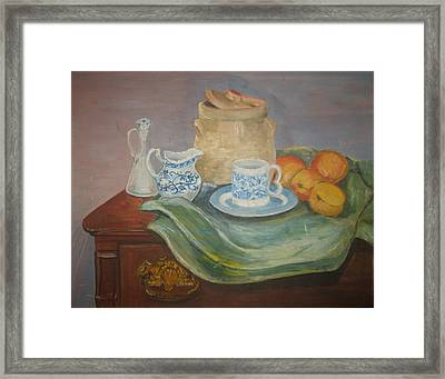 Still Life With Peaches Framed Print by Joseph Sandora Jr