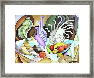 Still Life With Peaches Framed Print by Marcella Muhammad